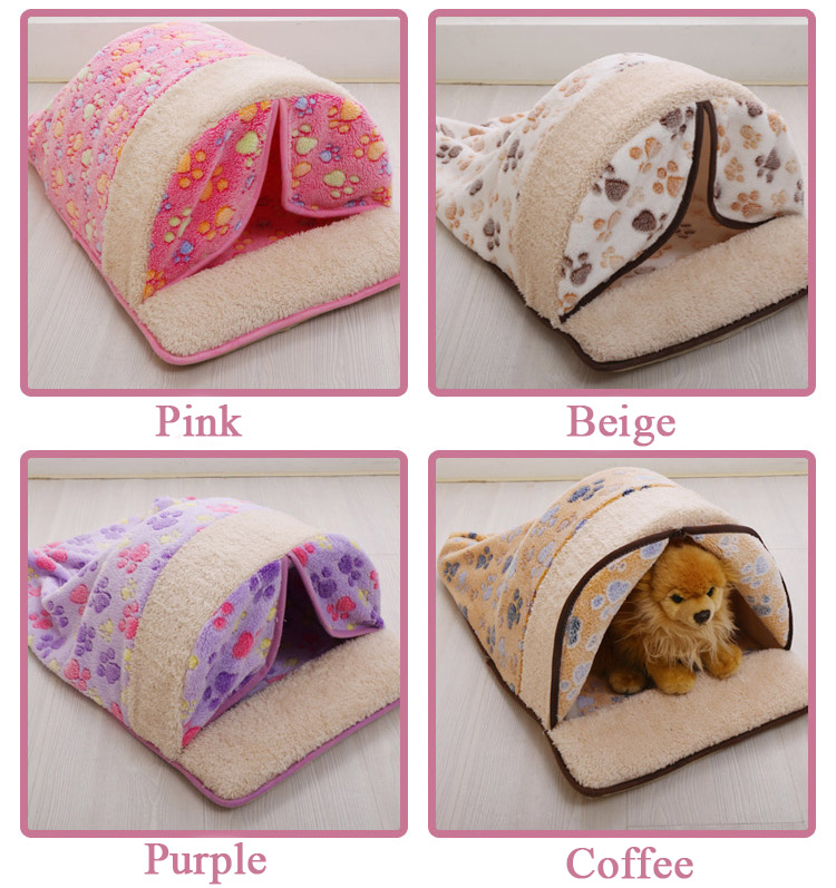 2016 Pet Products Warm Soft Pet Cat Sleeping Bag with Curtain Cartoon Coral Dog Kennel Cat Bed Cat House cama perro