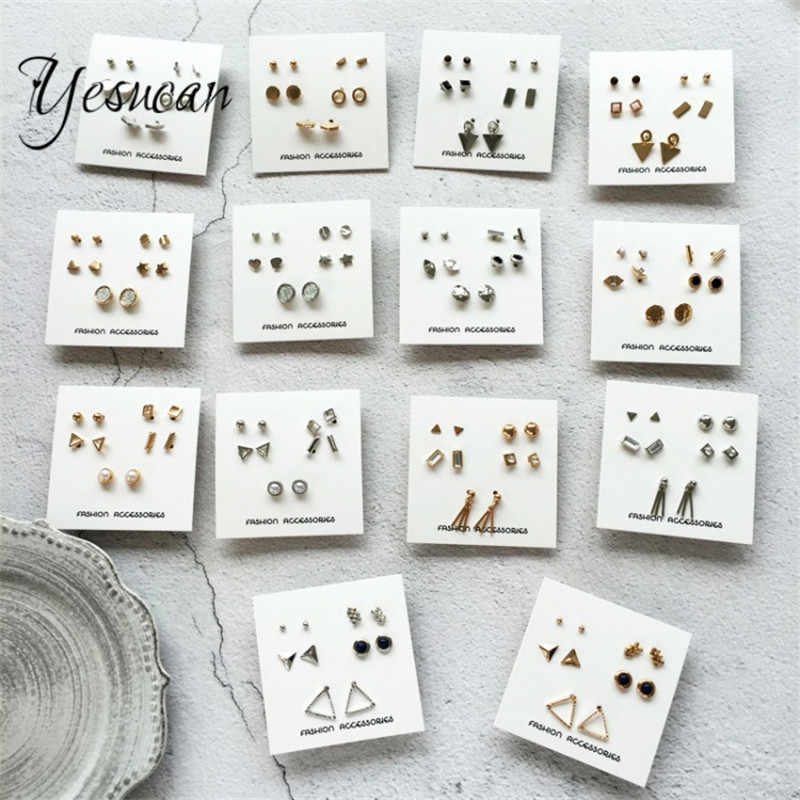 Yesucan 5pairs/pack Man Studs Set  Pack Brincos Mixed Stud Earrings For Women Crystal Ear Studs Fashion Simulated Pearl Jewelry