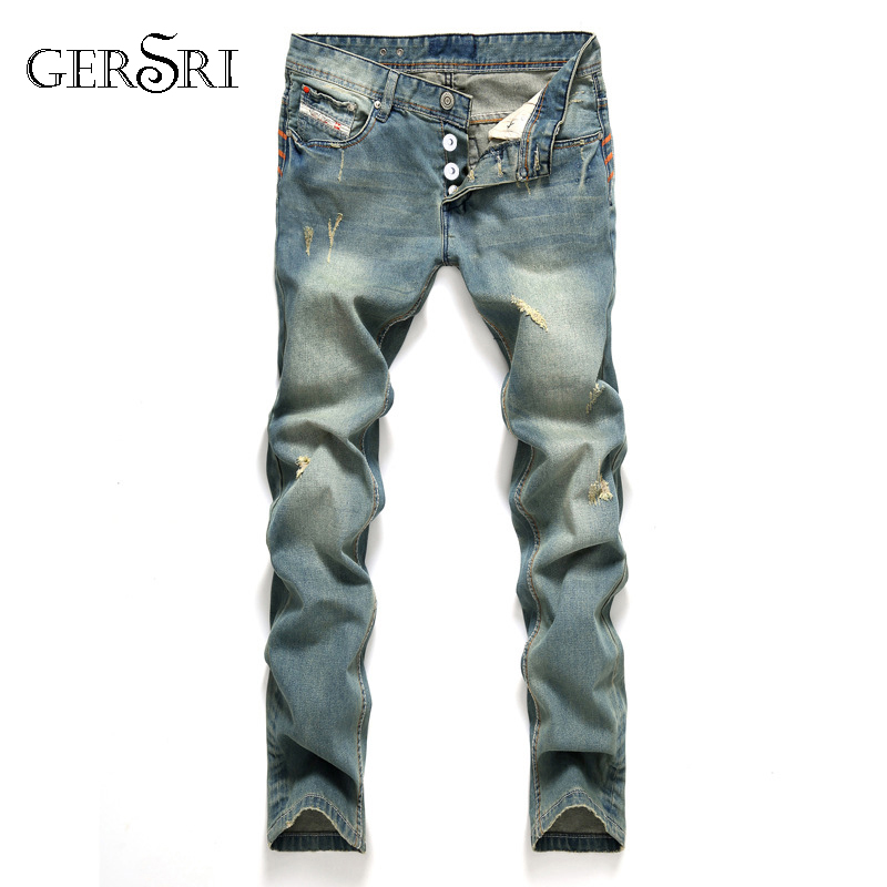 Gersri New Fashion Hole Jeans Men Long Trousers Straight Skinny Ripped Distressed Jeans Masculino Denim Pants Plus Size