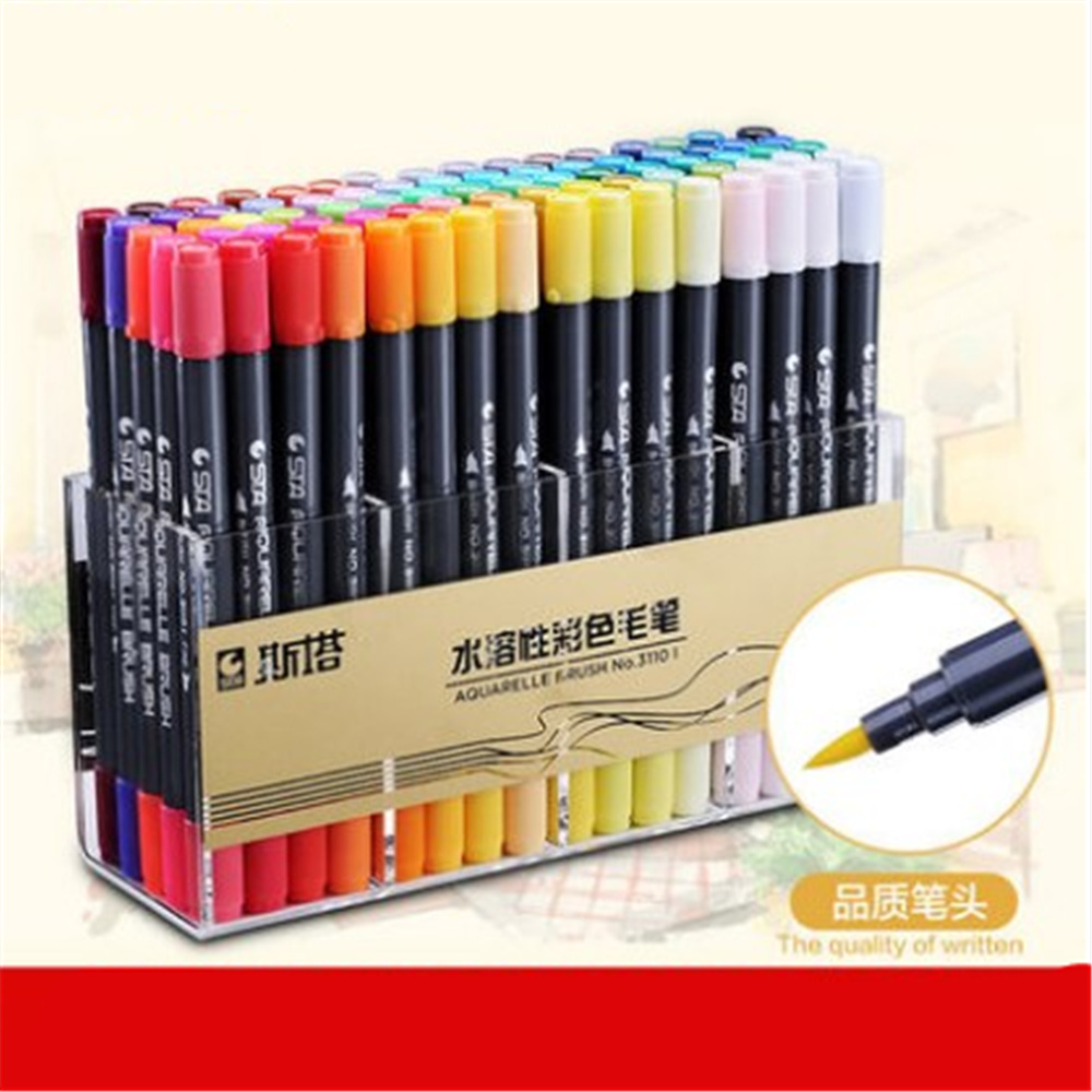 Double head Coloring Brush Pen 48 Color Set Flexible Brush Marker Water Color Pen Liquid- Ink Painting Supplies w110145 soft head fine water mark pen 48 60 color beginners painting professional equipment advanced ink student art suit
