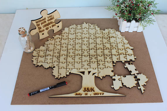 Personalized intials date rustic puzzle wedding day guest for Backyard party decoration crossword