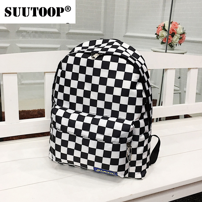 2019 New Unisex Plaid Nylon Women Travel Backpack Female Laptop Book Bag Daily Pack Schoolbags Casual Rucksack School Bag Pack