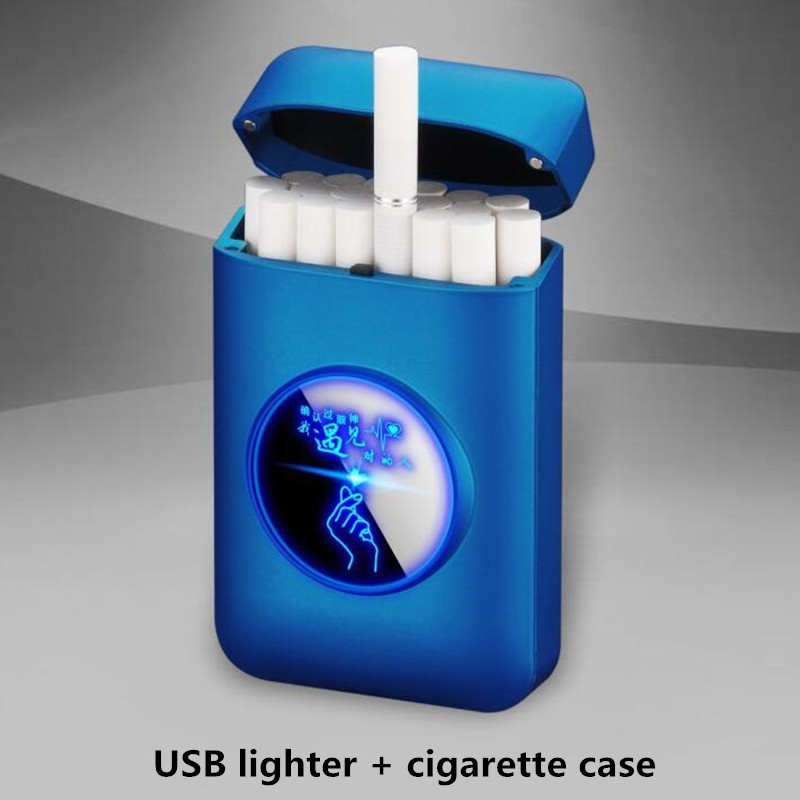 New USB recharge lighter and cigarette box case Creative Graphic LED display USB charging Windproof flameless Electronic lighter