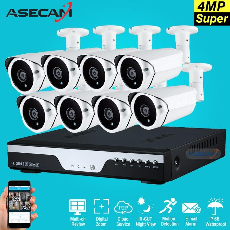 New Super Full HD 8ch 4MP Array di Sicurezza Esterna Videosorveglianza 8 Canali kit Telecamera con dvr Plug and play
