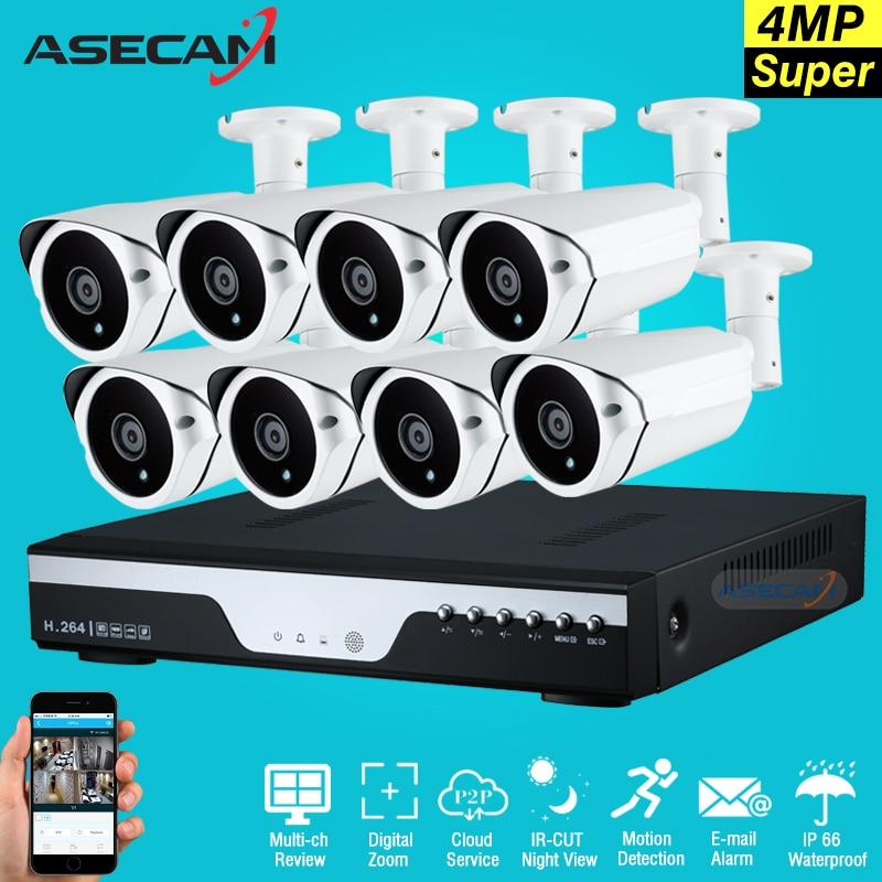 New Super Full HD 8ch 4MP En Plein Air Vidéo Surveillance 8 Canaux kit Caméra De Sécurité Réseau avec dvr Plug And play