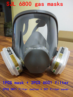 New Style 6800 Suit 7pcs Large View Full Gas Mask Full Facepiece Respirator Painting Spraying Silicone