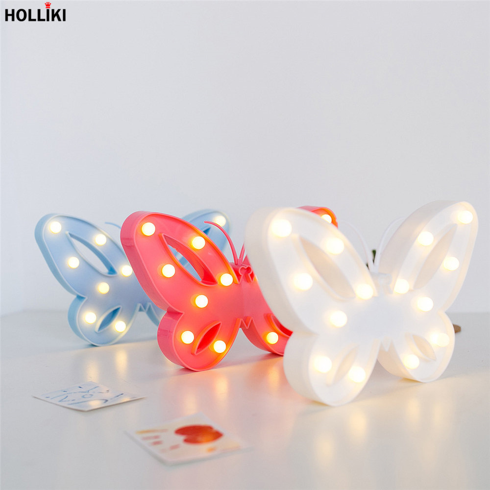 3d Led Butterfly Shape Table Lamp Lights Battery Powered Marquee Letter Night Lamp For Baby Bedroom Christmas Decor Kids Gift Luxuriant In Design