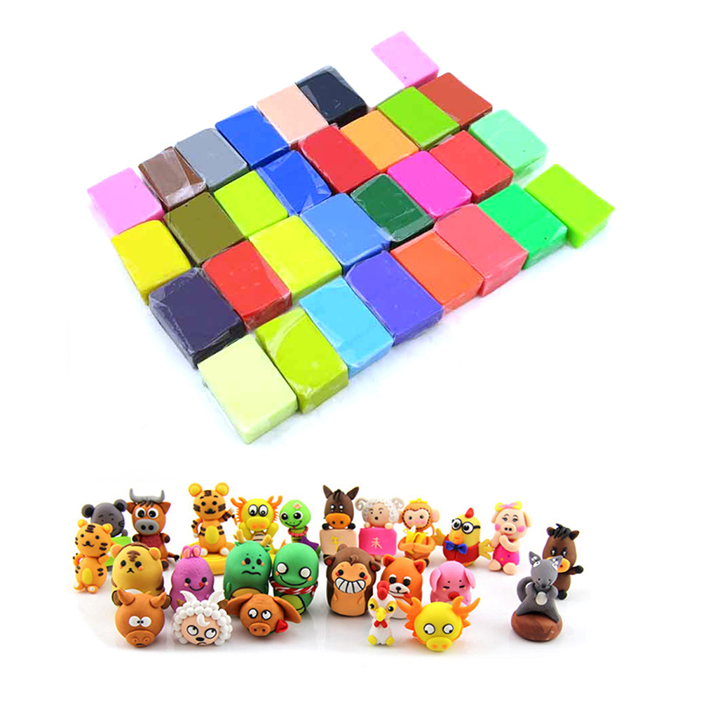 How to make clay toys use various shaping tools to - 32 Color Lot Oven Bake Polymer Clay Block Modelling Plasticine Kids Hand Making Diy Education Toy Children Favorite Gifts