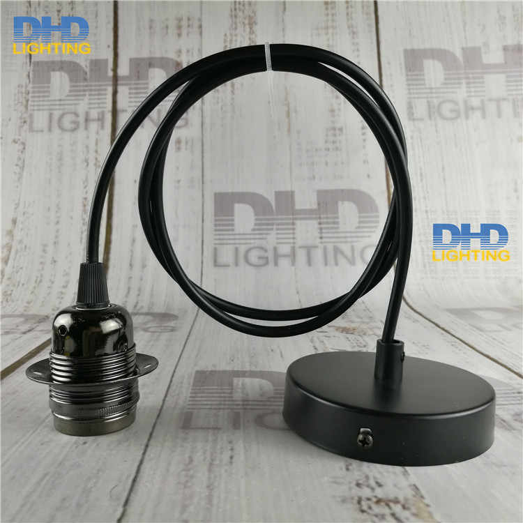Free shipping E27 Edison lamp fixture Glossy black finished Alloy threaded socket Aluminum lamp holder with cable and canopy