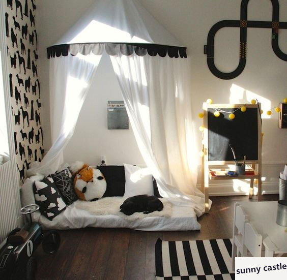 new black white Children Play <font><b>Tent</b></font> Kids Teepees Hanging Kids <font><b>tent</b></font> Cotton Canvas Tipi and Mosquito Net Play House for Baby Room