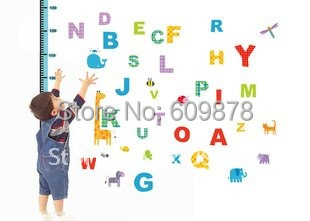 Free Shipping Popular Special Colorful PVC Alphabet wall sticker Happy House Removable Decor Vinyl