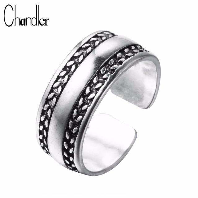 Chandler Silver Plain Rings For Women Male Engagement Wedding Band Female Feminine Open Nail Toe Feet