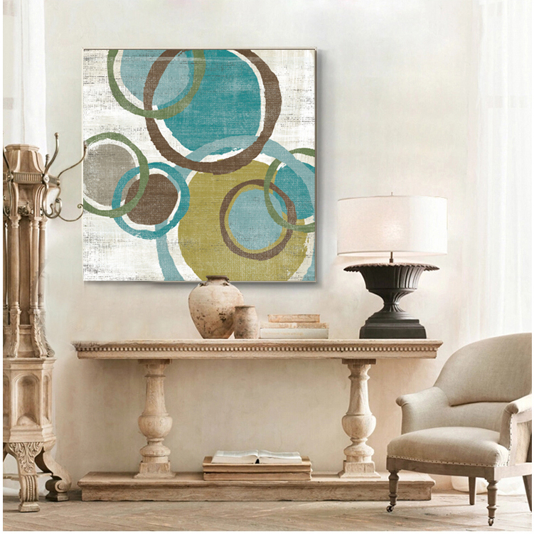 Sapphire Brown Circles Modern Abstract Oil Painting Canvas Wall Art