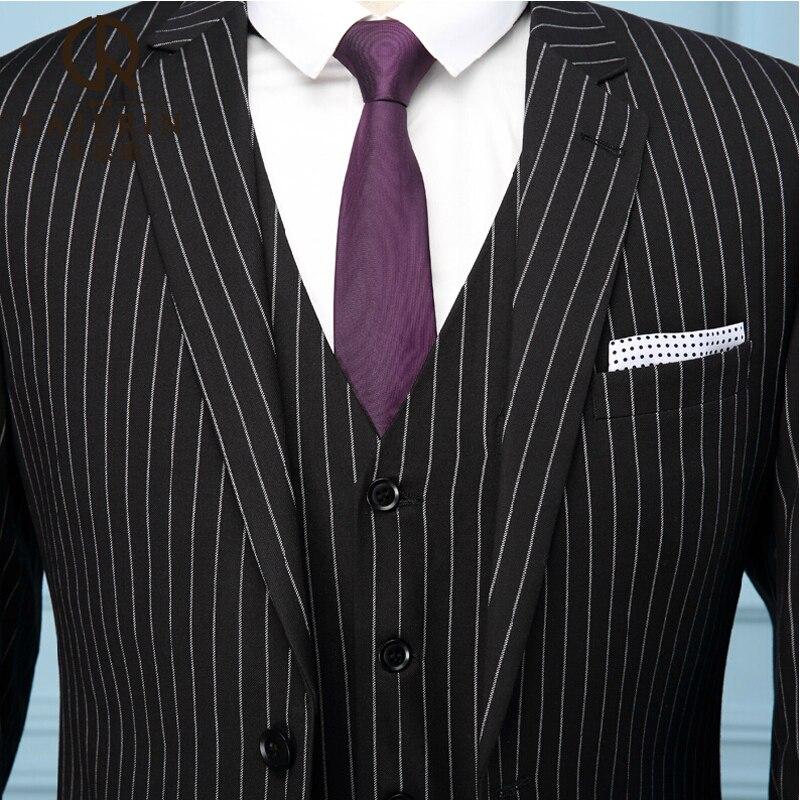 2015 NEW Pinstripe 3 Piece Slim Fit Men Suit Wedding Groom Dress ...