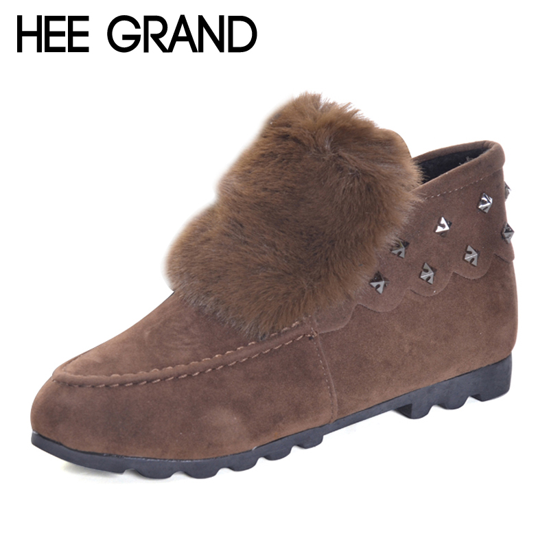 Hee Grand 2017 New Shallow Snow Casual Boots Slip on Winter Warm Faux Fur Ankle Boots Rivet Fashion Flats Women shoes XWM186 ms noki fur new fashion style black ankle boots flats pointed toe back slip on boots pu flock woman shoes with warm fur outside