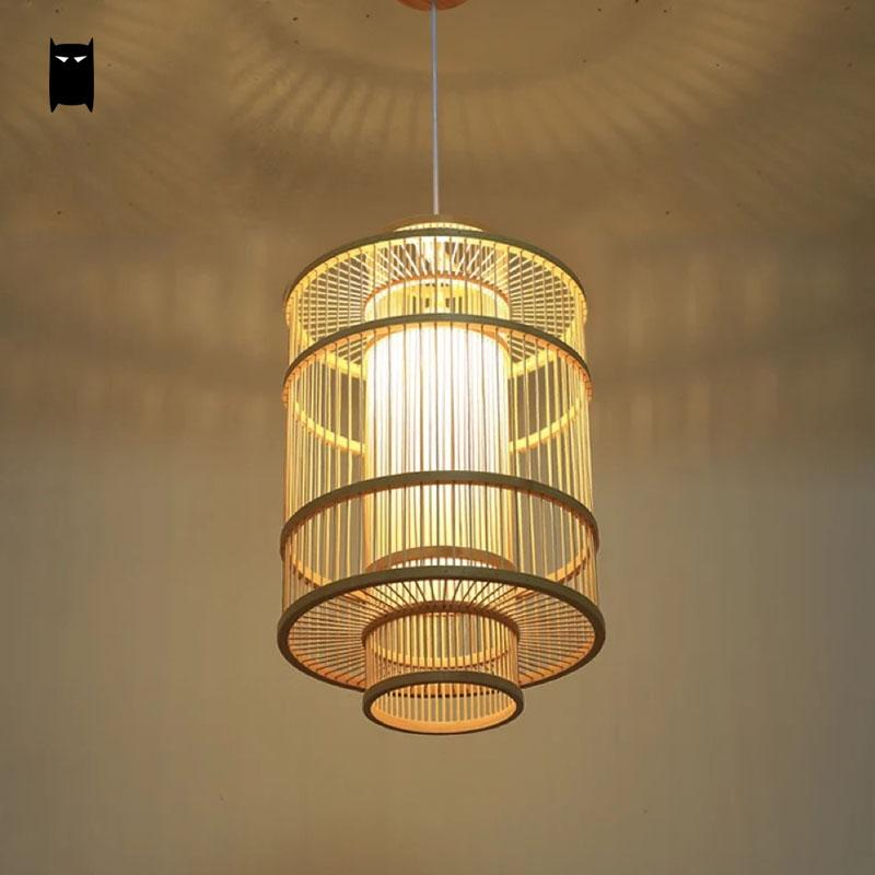 Bamboo Wicker Rattan Lantern Shade Pendant Light Fixture Asian Rustic Country Art Deco Suspended Lamp Plafon Dining Table Room