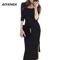 Sexy Slim Elasticity Knitting Dress For Women Three Quarter Sleeve Medium Long Hem Split Solid Black