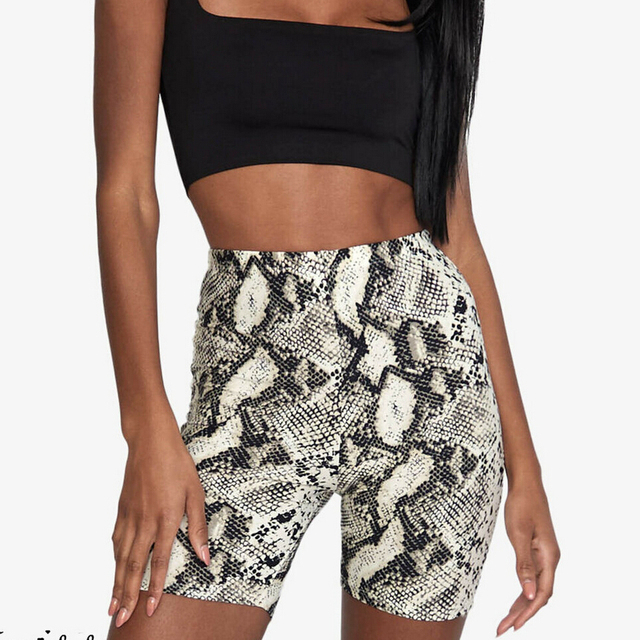 NewWomen/'s Ladies SnakePrint Cycling Shorts 2PCS Co ord Active Gym Set Tracksuit