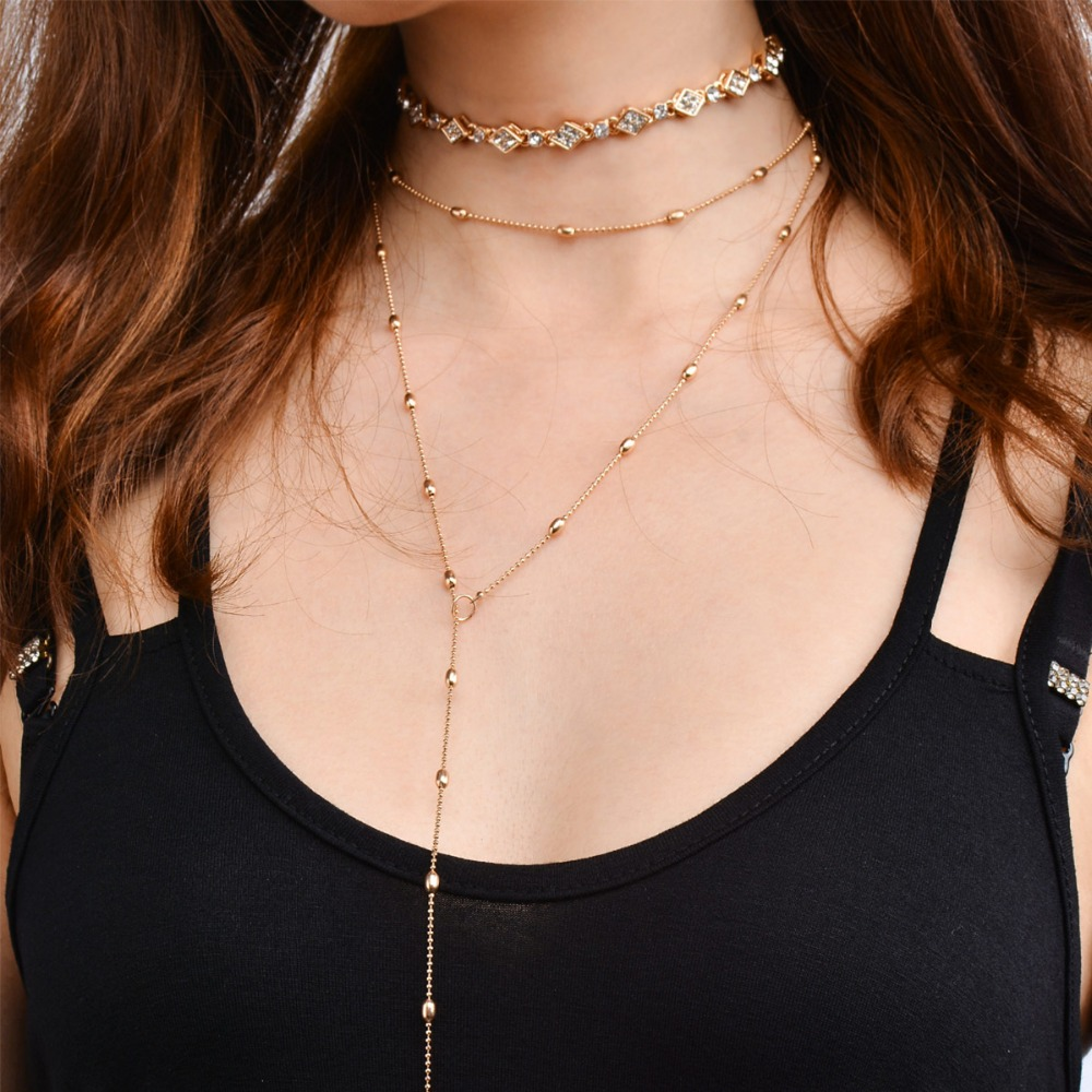 Ingemark Fashion 3 pcs Vintage Noble Choker Necklace Sets Slender Alloy Beads Chain Pendant Charm Jewelry for Women