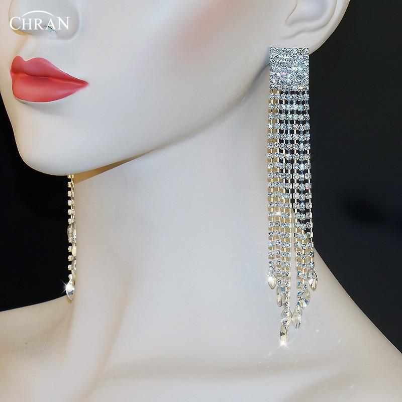 Sparkling Crystal Block Ring Chandelier: CHRAN Sparkling Rhinestone Chandelier Dangle Long Tassels