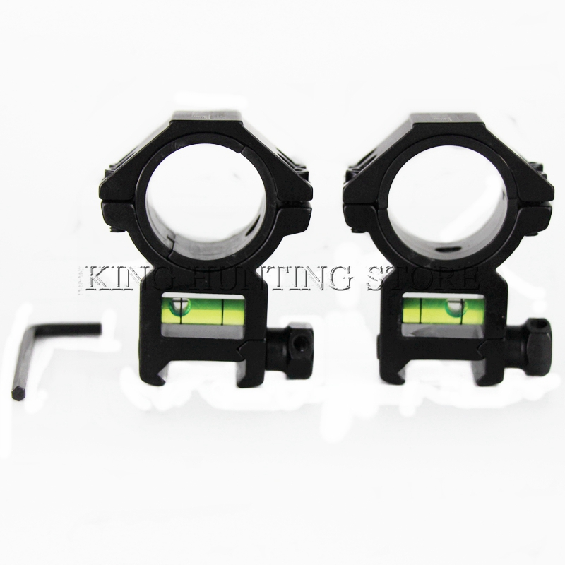1 Pair 25.4/30mm Ring 20mm Picatinny Weaver Scope Mount&Bubble Level Mount Air Soft Gun Rifle Scope Ring Support for Hunting