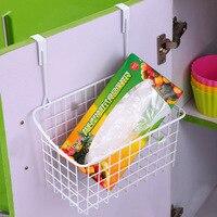 Iron Storage Kitchen Cabinet Door Back Hanging Storage Basket Tableware Seasoning Bottle Storage Rack Kitchen Orgainzer