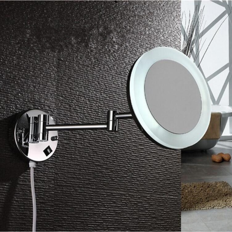1X/3X Bathroom Mirror Wall Mounted 8 inch Brass Magnifying LED Mirror Folding 2 face Makeup Cosmetic Mirror Lady Gift new fashion 6 inches led bathroom mirror dual arm extend 2 face metal makeup mirror 5x magnifying wall mounted extending folding
