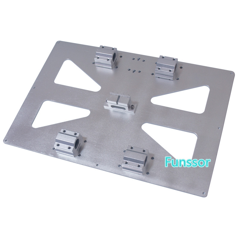 Funssor Large Size 300X200MM Prusa i3 Y Carriage Plate XL RepRap 3D Printer Upgrade Aluminum alloy heated bed mount plate prusa i3 update version large size xl aluminum extended 300x200mm y carriage plate for reprap 3d printer