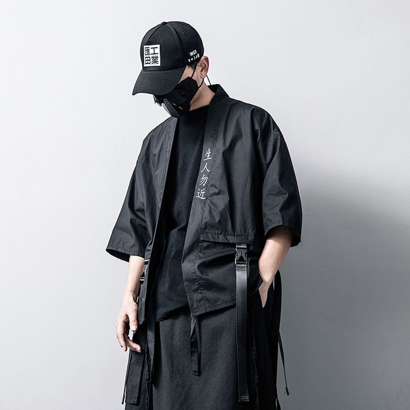 Men Fashion Black Punk Gothic Streetwear Hip Hop Hooded Long Shirt Male Bat Sleeve Loose Casual