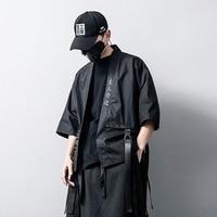 Men Short Sleeve Casual Shirts Streetwear Hip Hop Ribbon Cotton Linen Shirt Coat Male Japan Kimono Cardigan Jacket