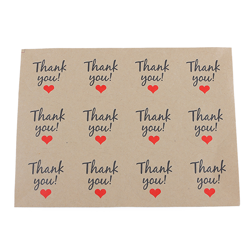 12PCS1Sheet Thank You Kraft Paper Sealing Paste Baking Products Mini Sticker Lable Stationery Set School Office Supplies