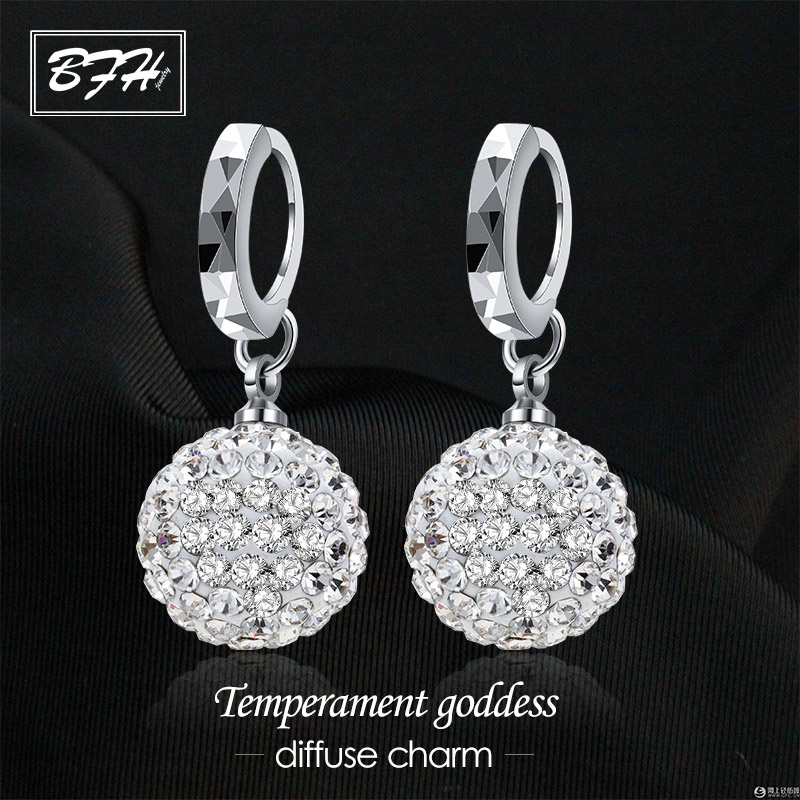 BFH Fashion Charm Rhinestone Crystal Silver Earrings for Women Wedding Party Luxury Elegant Crystal Round Earring Jewelry Gift