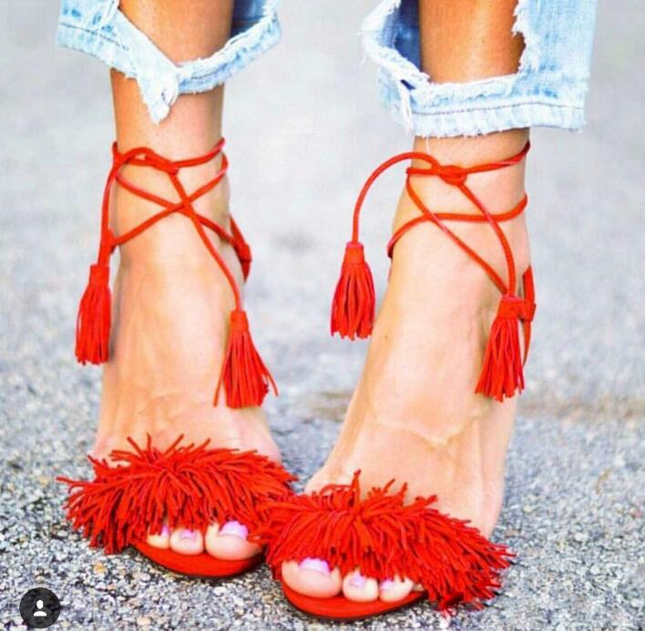 Fringe Toe Women Lace Up Sandals Sexy Open Toe Ladies Fashion High Heels Female Elegant Dress Shoes Spring Fashion Party Shoes hot black satin straps women open toe sandals fashion cut out style butterfly knot back ladies lace up high heels slingback shoe