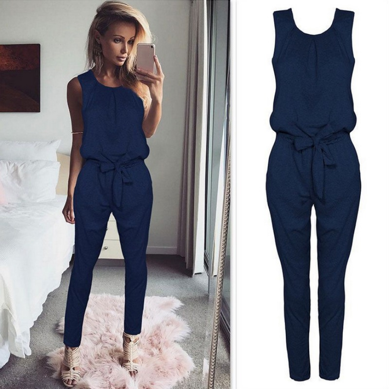 Fashion Women Sleeveless Belt   Jumpsuit   Romper Long Casual Style   Jumpsuit   Long Romper Playsuit Women Sleeveless O-Neck H8
