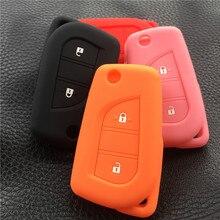 Silikon araba anahtarı kapağı durumda set tutucu çanta Peugeot 108 Için Uzaktan Çevirme Katlanır 3 düğme anahtar