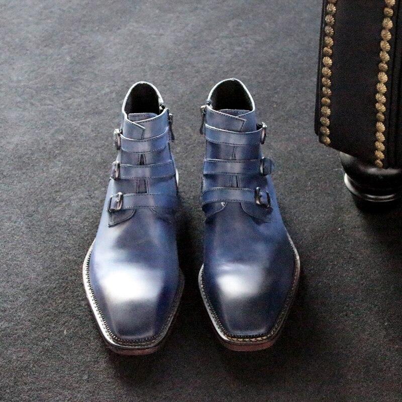 2017 Luxus Mode Handgefertigte Highstreet Retro Belted Leder Stiefel Karree Rindsleder Kurze Boot Für Männer Chelsea Stiefel
