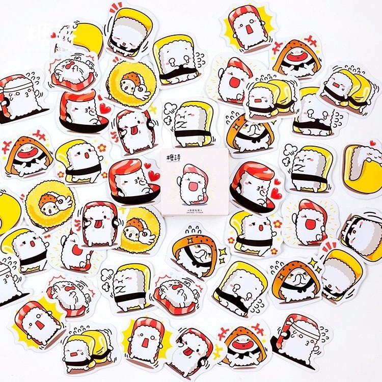 45PCS/box New Cartoon Sushi Diary Paper Lable Stickers Crafts And Scrapbooking Decorative Lifelog Sticker DIY Lovely Stationery