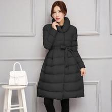 2016 Winter Down Parkas Coat Women Long Style Solid Wadded Jackets Female Wide-waist Thicken Coat C8121