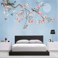 Wallpapers YOUMAN 3d Photos Hd Desktop Picture Wallpaper Children Room Flower Full Wall Mural Home Decor Blue