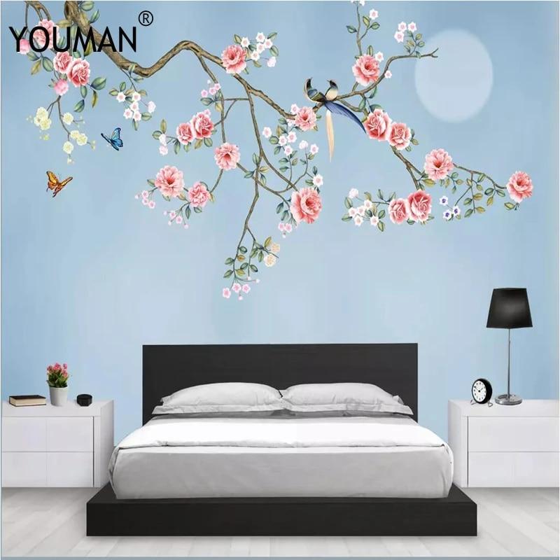 Wallpapers Youman 3d Photos Hd Desktop Picture Wallpaper Children Room Flower Full Hd Wallpapers Wall Mural Home Decor Blue Wall Wallpapers Aliexpress