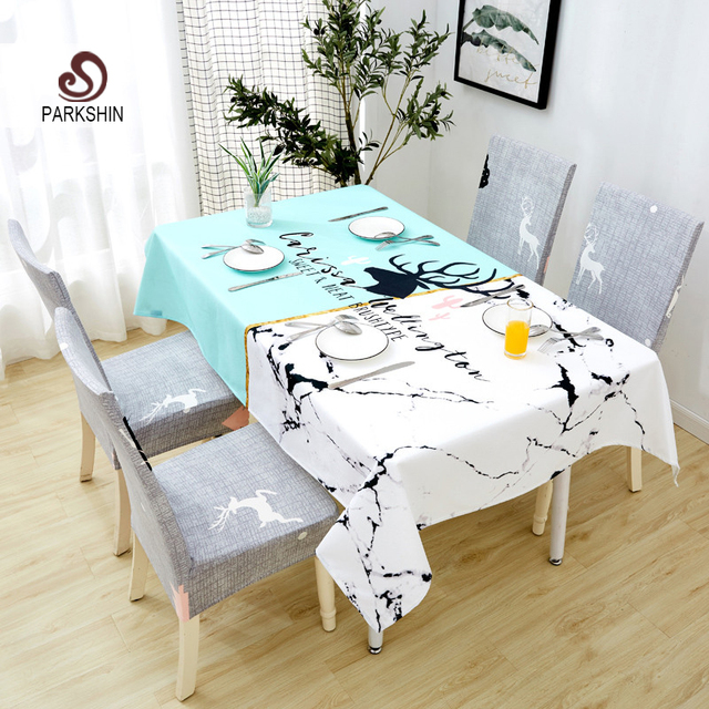 Parkshin 2019 New Nordic Deer Tablecloth Home Kitchen Rectangle Waterproof Table Cloths Party Banquet Dining Table Cover 4 Size