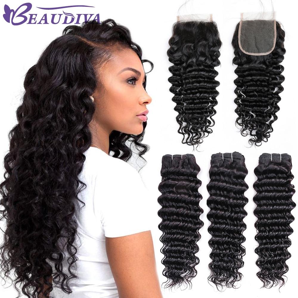 BEAUDIVA Brazilian Deep Wave Hair Human Hair Bundles With Closure 2 or 3 Bundles With Closure
