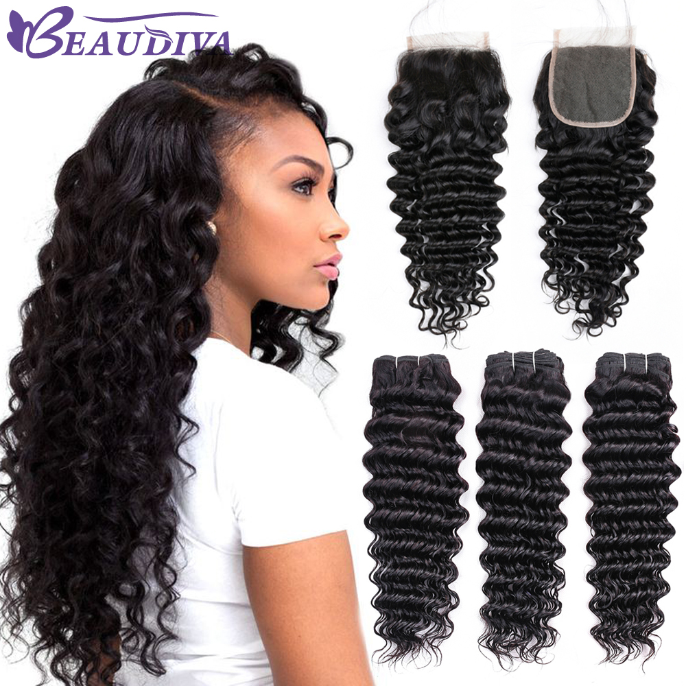 3/4 Bundles With Closure Malaysian Kinky Curly Hair Bundles With Closure Non Remy 3 Bundles Human Hair With Lace Closure 100% Human Hair Extensions Perfect In Workmanship