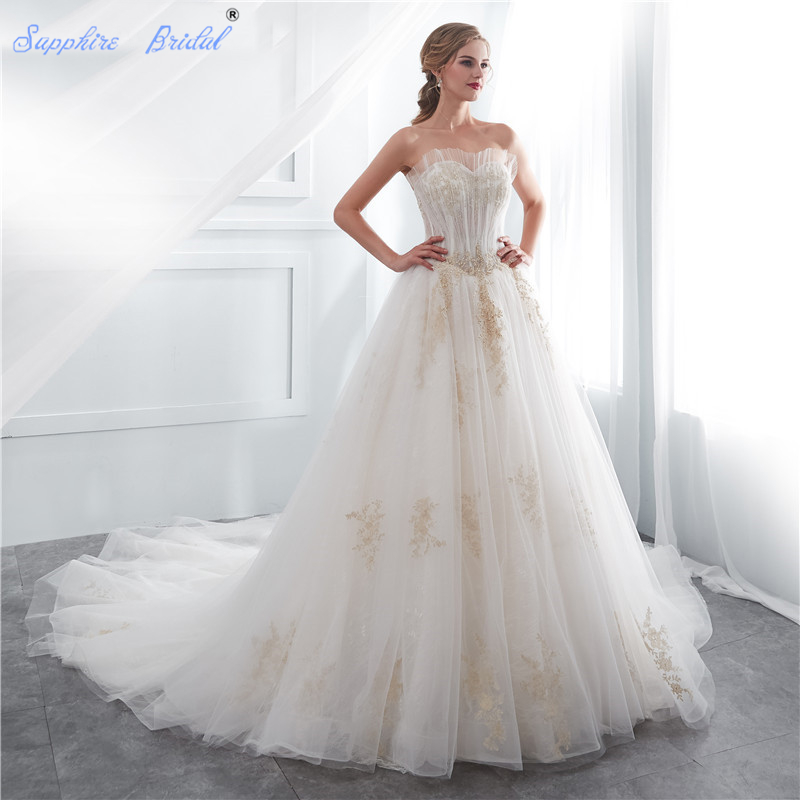 Shire Bridal Vintage Strapless Lace Up White Ivory Gold Long Train Luxury Wedding Dress For Brides Vestido De Novia In Dresses From