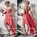 New Arrival 2016 Ankle Length  Pleated Chiffon Short Coral Bridesmaid Dresses For Wedding Beach Party