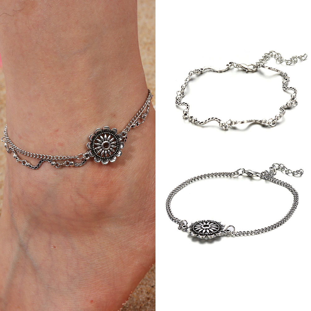 1 Pcs Alte Silber Multi-schichten Boho Fußkettchen Armbänder Barfuß Sandale Strand Schmuck Blume Design Fuß Ketten Dropshipping
