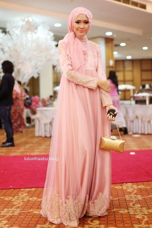 Pink Gold Lace Kaftan Dubai Long Sleeve Evening Dresses Muslim ...