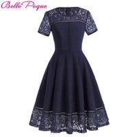 Belle Poque Sexy Vintage Summer Lace Dress 2017 Women Plus Size Clothing Short Sleeve Princess Tea