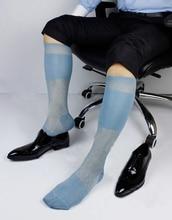 2016 A La venta! hombres de la moda Pura Opacidad Estilo Masculino Calcetines calcetines de color Sólido Estilo Sexy medias Transparentes Hombre Lago Azul