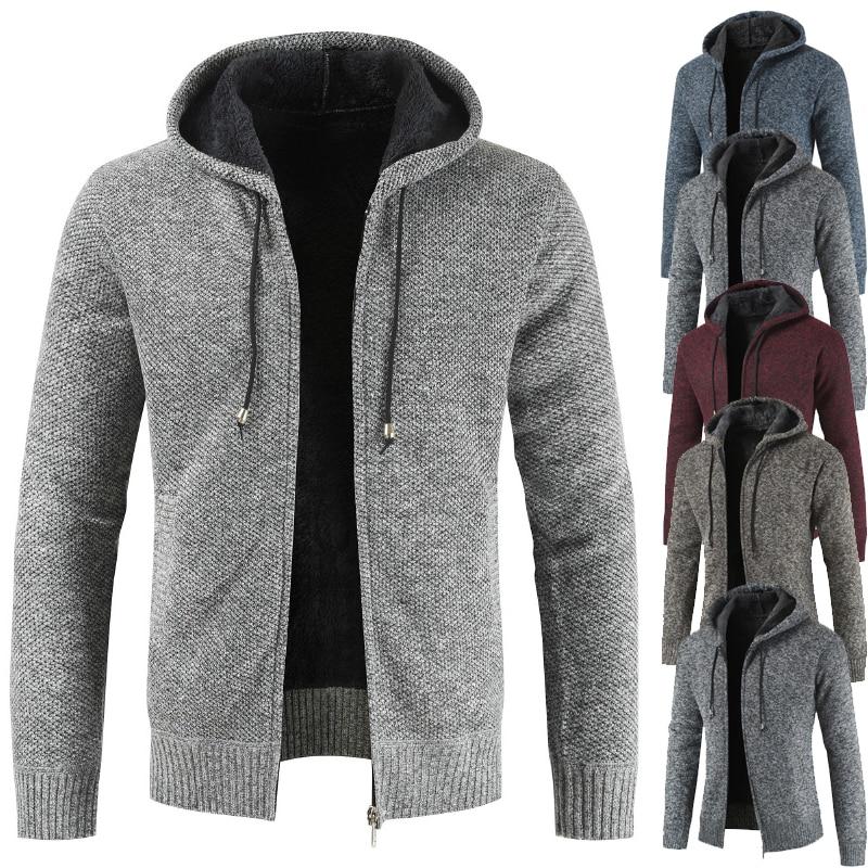 Men Sweater New Arrival 2018 Autumn Winter  Men's Hooded And Fleece Thickened Men's Cardigan Coats